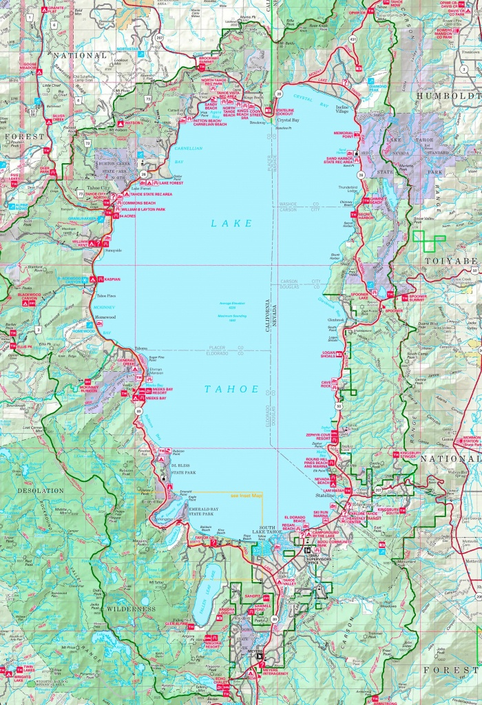 Large Detailed Tourist Map Of Lake Tahoe - Printable Map Of Lake Tahoe