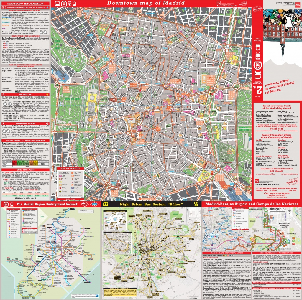 Large Detailed Tourist Map Of Madrid - Printable Map Of Madrid