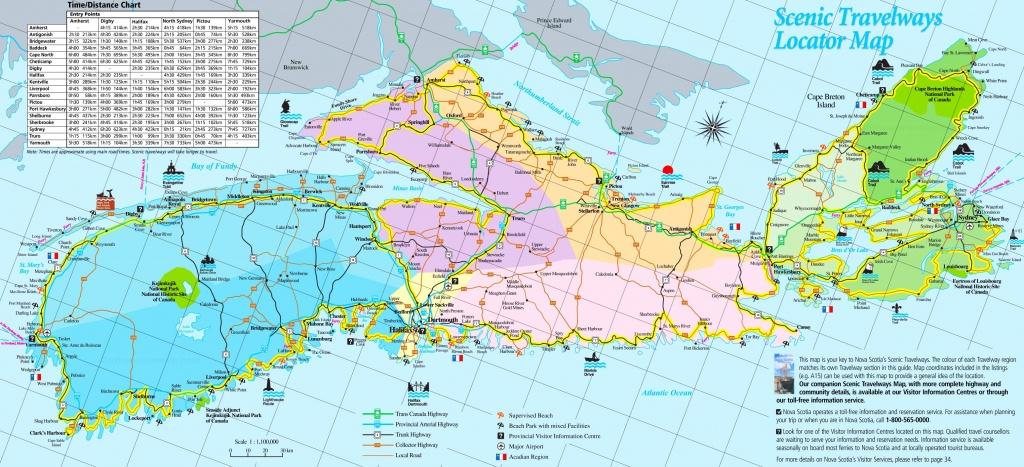 Large Detailed Tourist Map Of Nova Scotia - Printable Map Of Nova Scotia