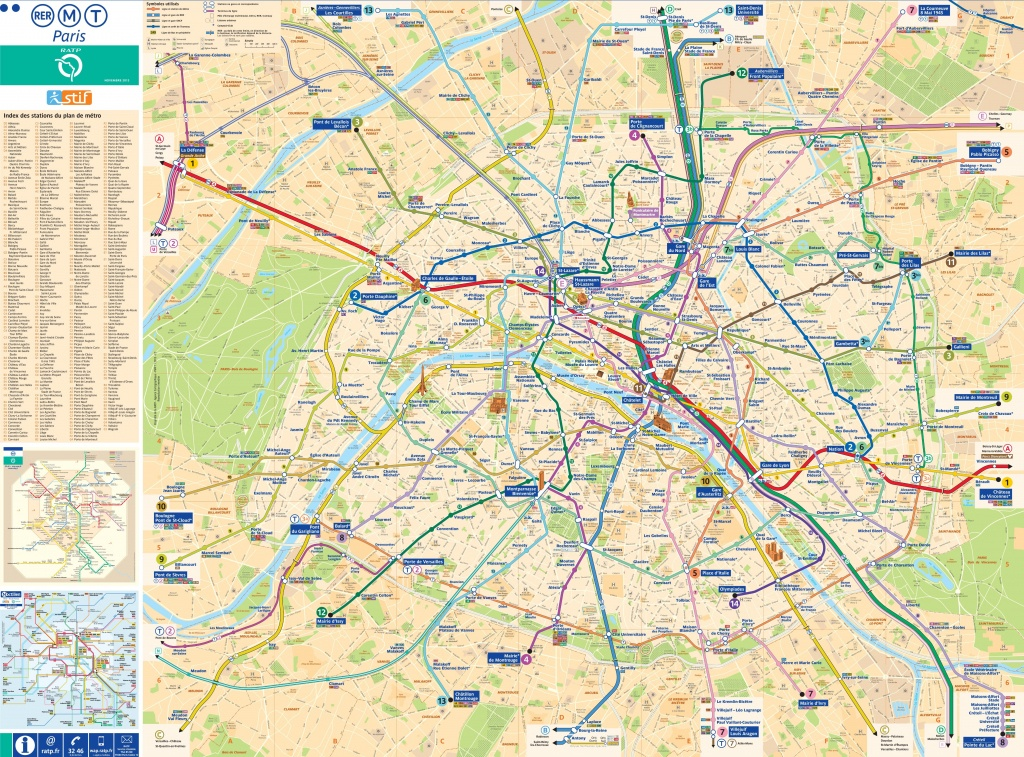 Large Detailed Tourist Map Of Paris With Metro - Printable Tourist Map Of Paris France