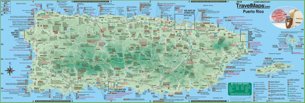 Large Detailed Tourist Map Of Puerto Rico With Cities And Towns - Free Printable Map Of Puerto Rico
