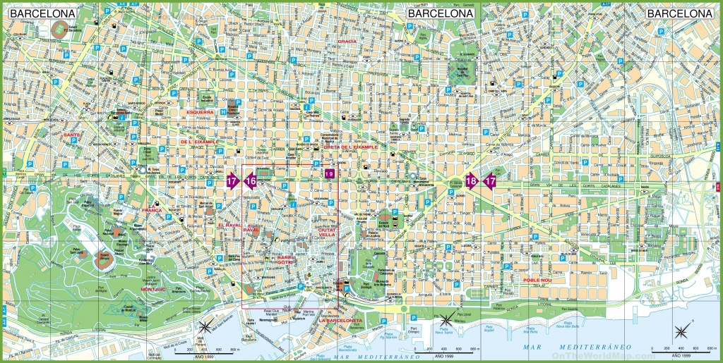 Large Detailed Tourist Street Map Of Barcelona - Barcelona Tourist Map Printable