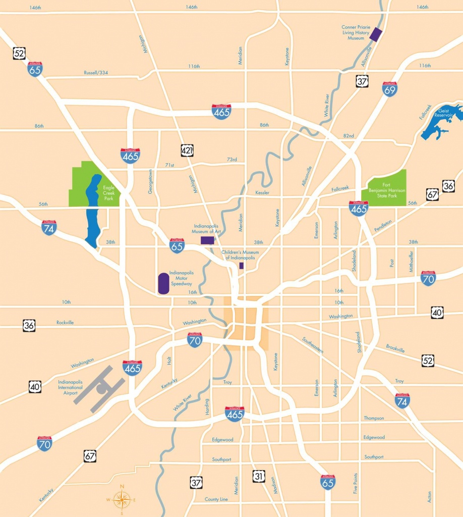 Large Indianapolis Maps For Free Download And Print | High - Downtown Indianapolis Map Printable