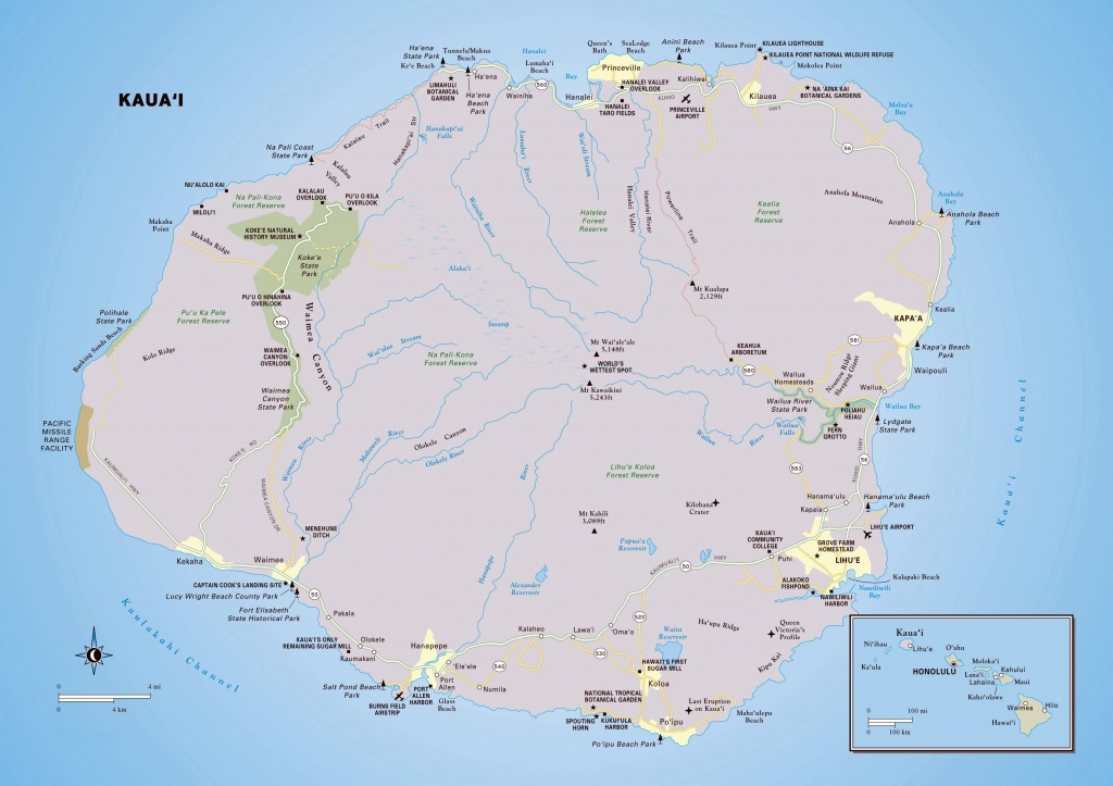 Large Kauai Island Maps For Free Download And Print | High - Printable Road Map Of Kauai