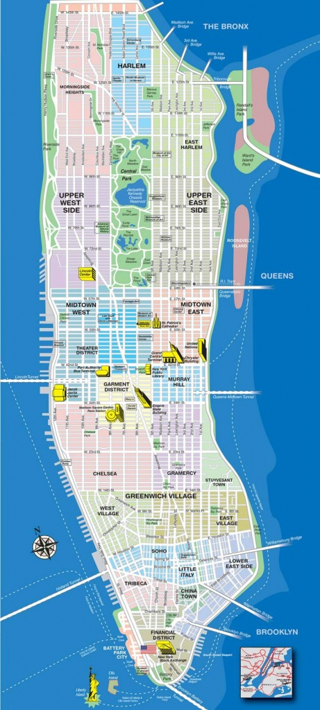 Large Manhattan Maps For Free Download And Print   High-Resolution - Manhattan Map With Attractions Printable