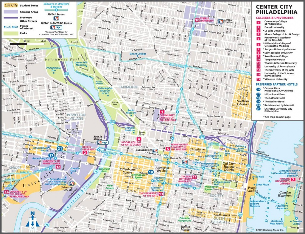 Large Philadelphia Maps For Free Download And Print | High - Map Of Old City Philadelphia Printable