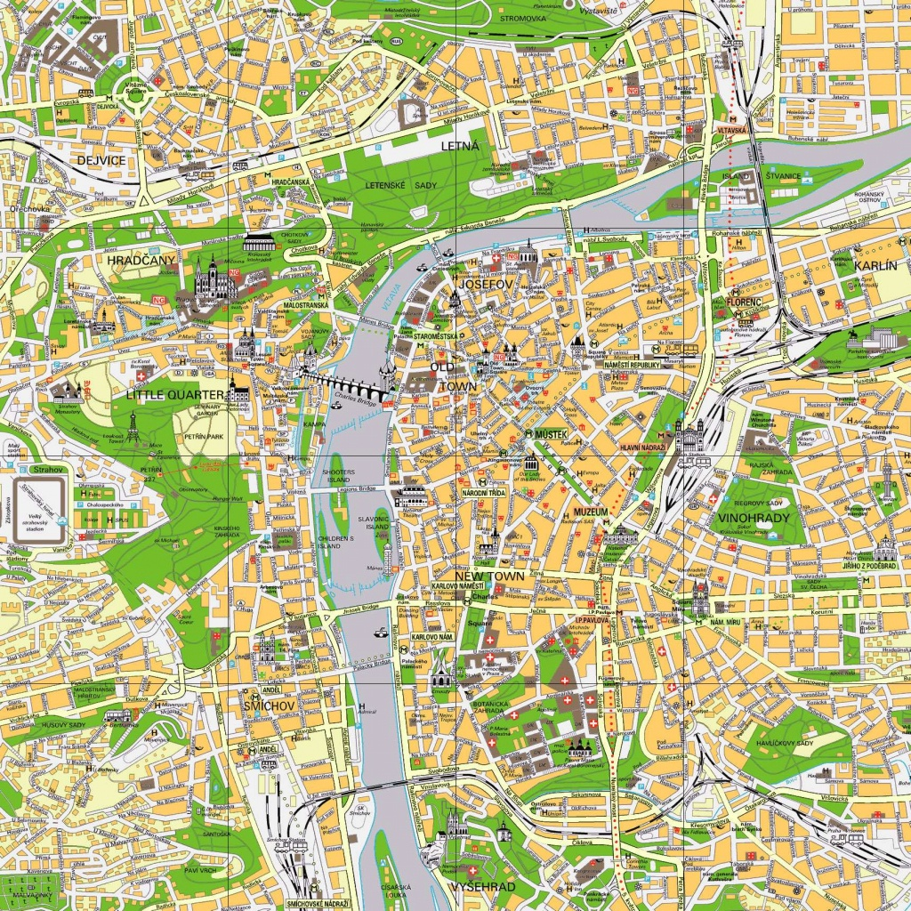 Large Prague Maps For Free Download And Print | High-Resolution And - Prague City Map Printable