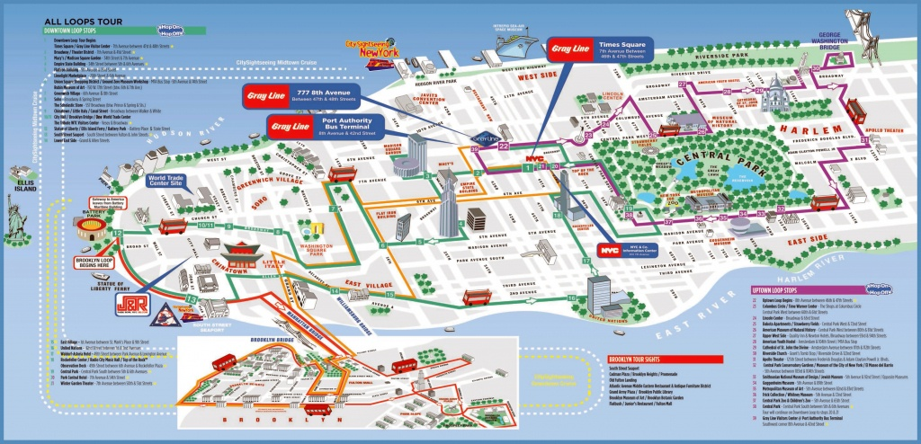 Large Printable Tourist Attractions Map Of Manhattan, New York City - Printable Map Of Nyc Tourist Attractions