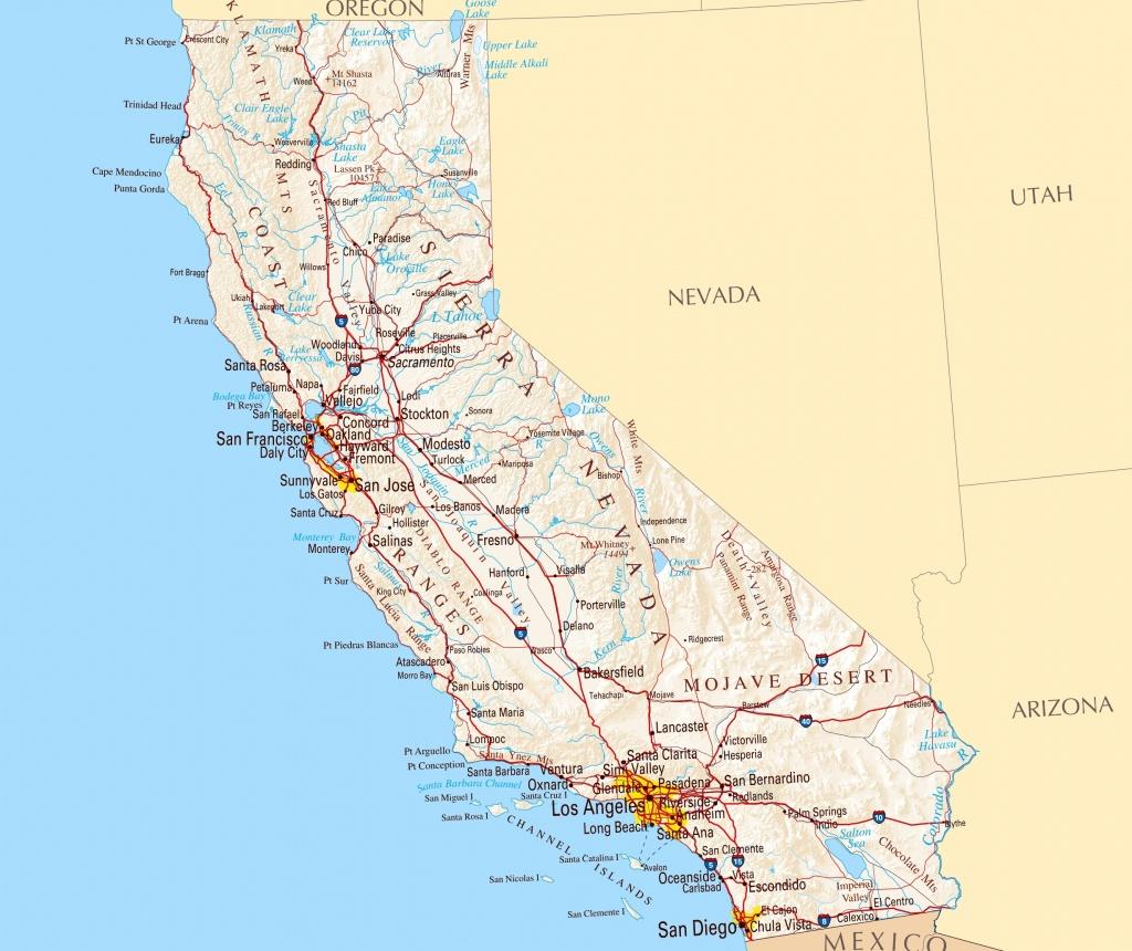 Large Road Map Of California California Map With Cities Printable - Printable Map Of California Cities