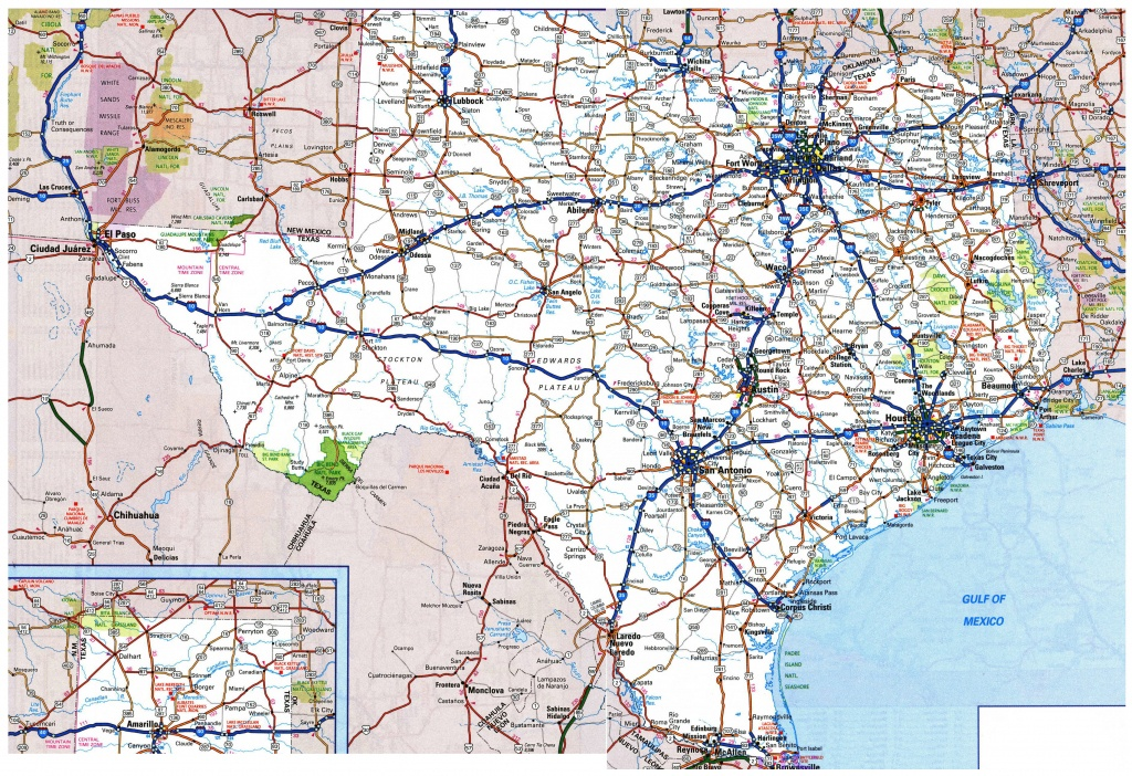 Large Roads And Highways Map Of Texas State With National Parks And - Map Of All Texas State Parks