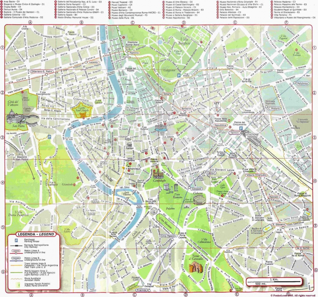Large Rome Maps For Free Download And Print | High-Resolution And - Central Rome Map Printable