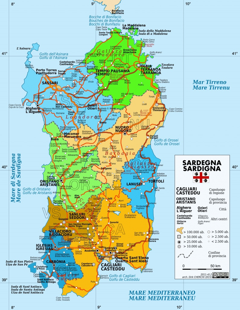 Large Sardinia Maps For Free Download And Print   High-Resolution - Printable Map Of Sardinia