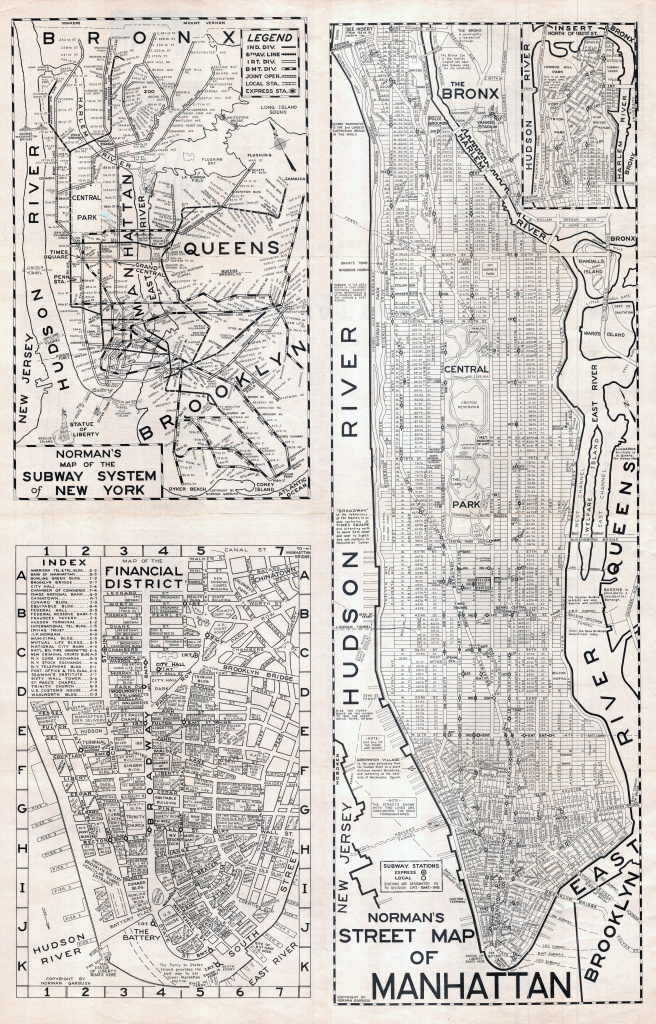 Large Scaled Printable Old Street Map Of Manhattan, New York City - Printable New York Street Map