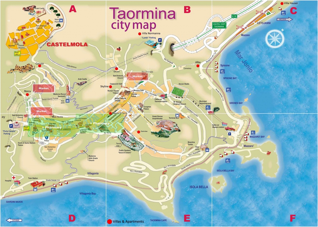 Large Taormina Maps For Free Download And Print   High-Resolution - Printable Map Of Sicily