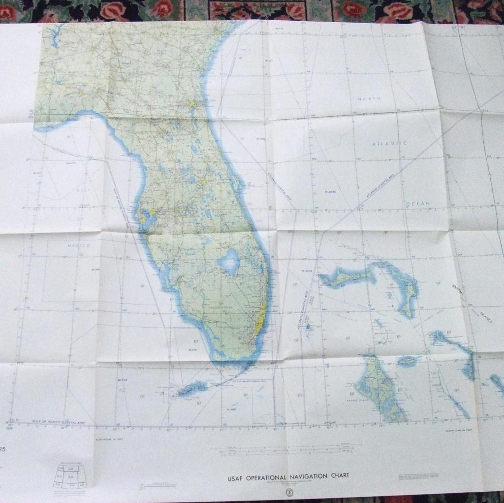 Large Wall Map Florida Bahamas Usaf Aeronautical Out Of | Etsy - Florida Wall Maps For Sale