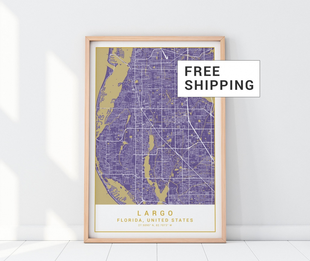 Largo Map Print In Purple Harmony Largo Poster Largo Florida   Etsy - Harmony Florida Map