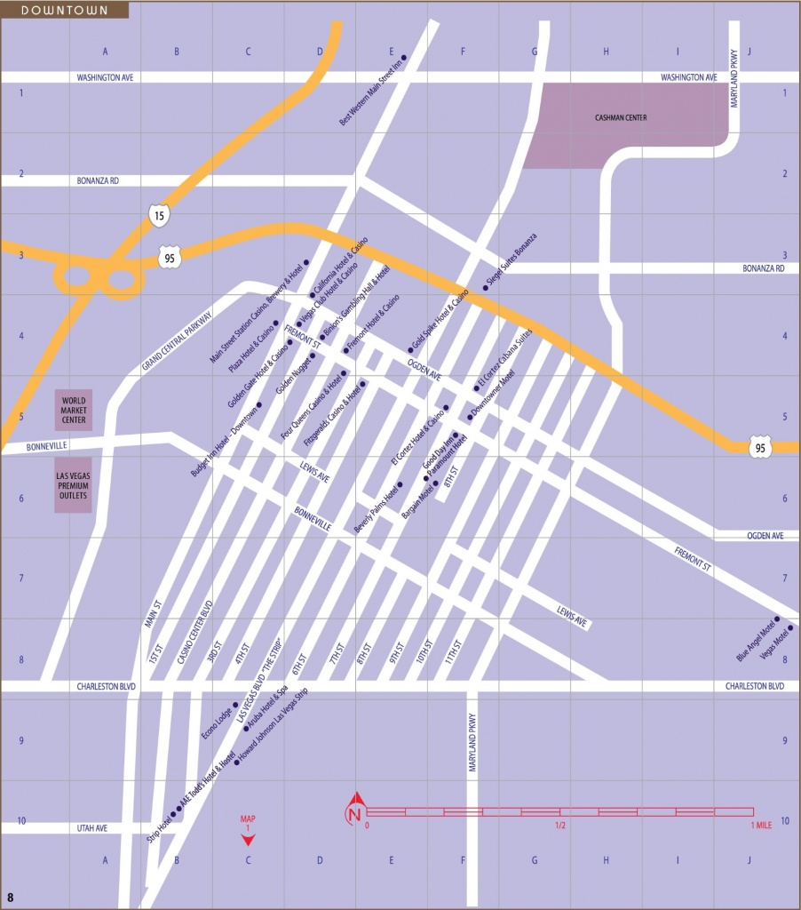 Las Vegas Downtown And Fremont Street Map - Printable Map Of Downtown Las Vegas