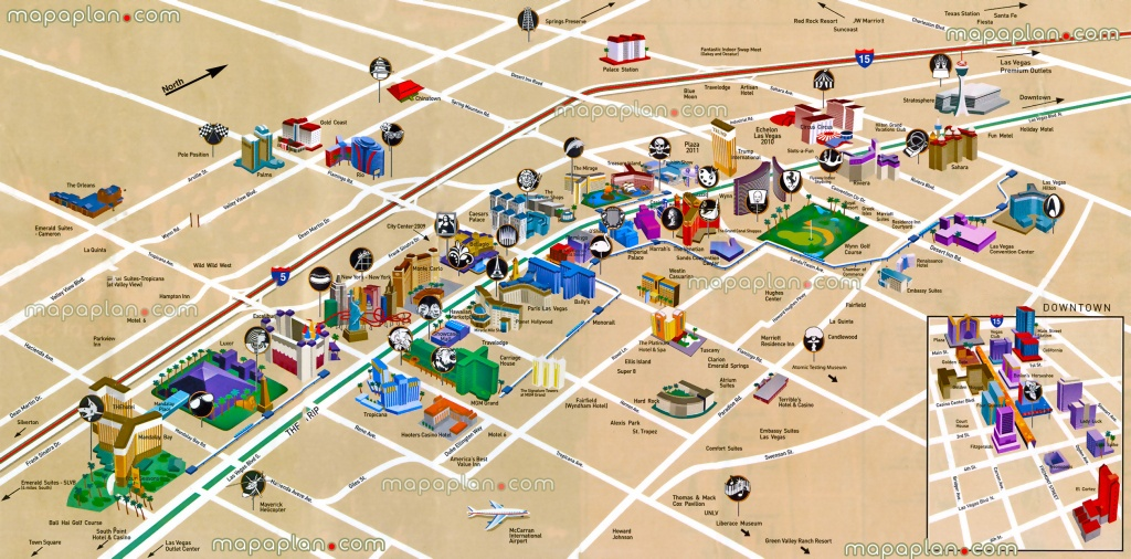 Las Vegas Maps - Top Tourist Attractions - Free, Printable City - Map Of Las Vegas Strip Hotels Printable