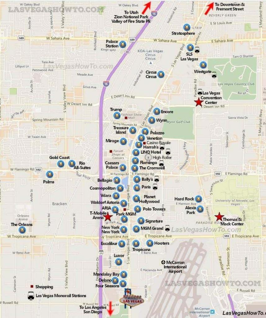 Las Vegas Strip Map (2019)   California, Etc.   Las Vegas Strip Map - Las Vegas Printable Map
