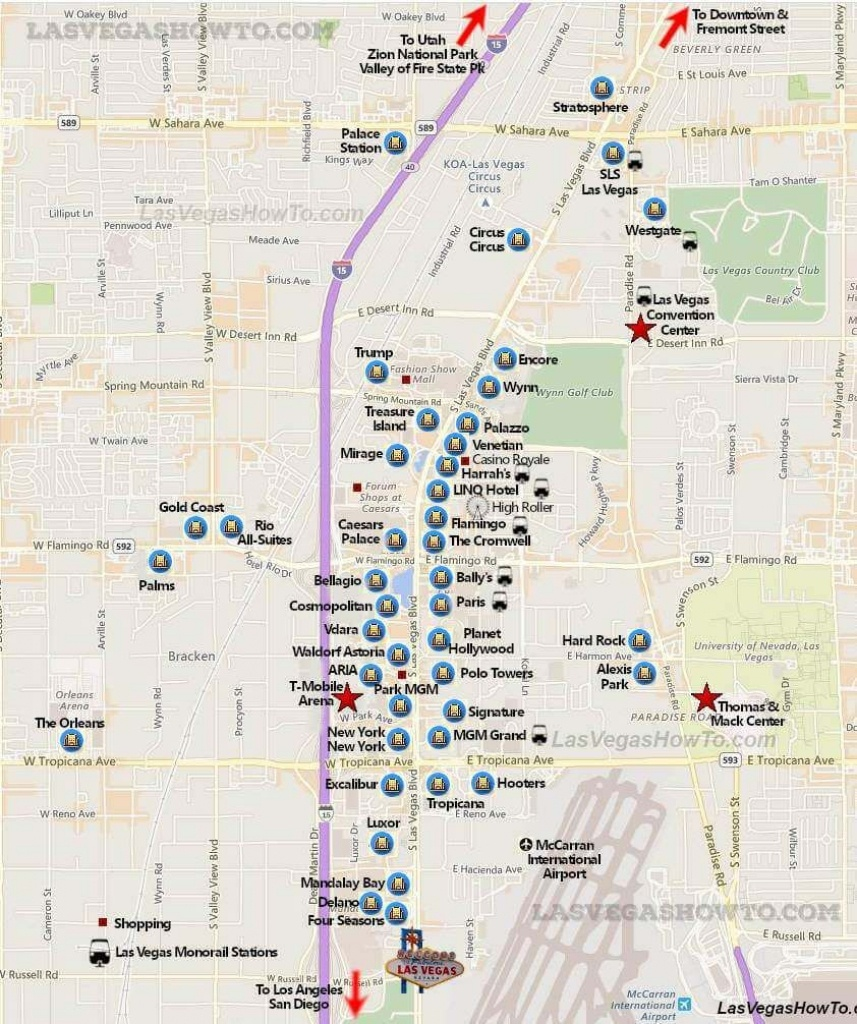 Las Vegas Strip Map (2019) | California, Etc. | Las Vegas Strip Map - Printable Map Of Vegas Strip