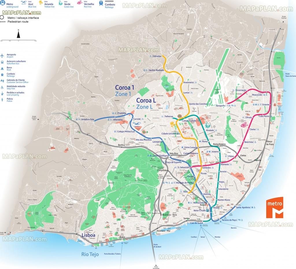 Lisbon Maps - Top Tourist Attractions - Free, Printable City Street Map - Lisbon Metro Map Printable