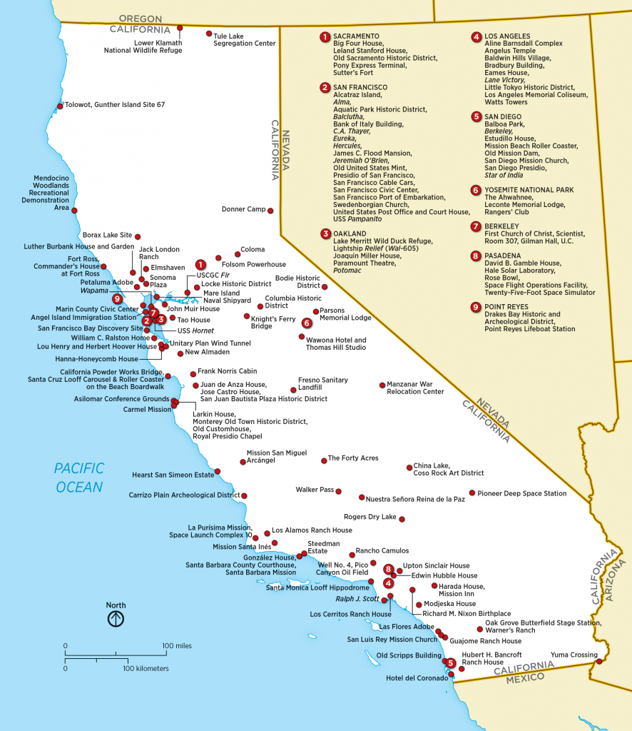 List Of National Historic Landmarks In California - Wikipedia - Map Of California National Parks And Monuments