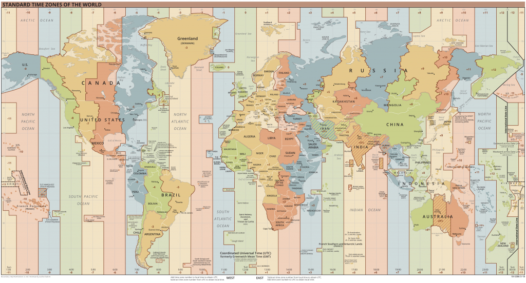 List Of Utc Time Offsets - Wikipedia - World Map Time Zones Printable Pdf
