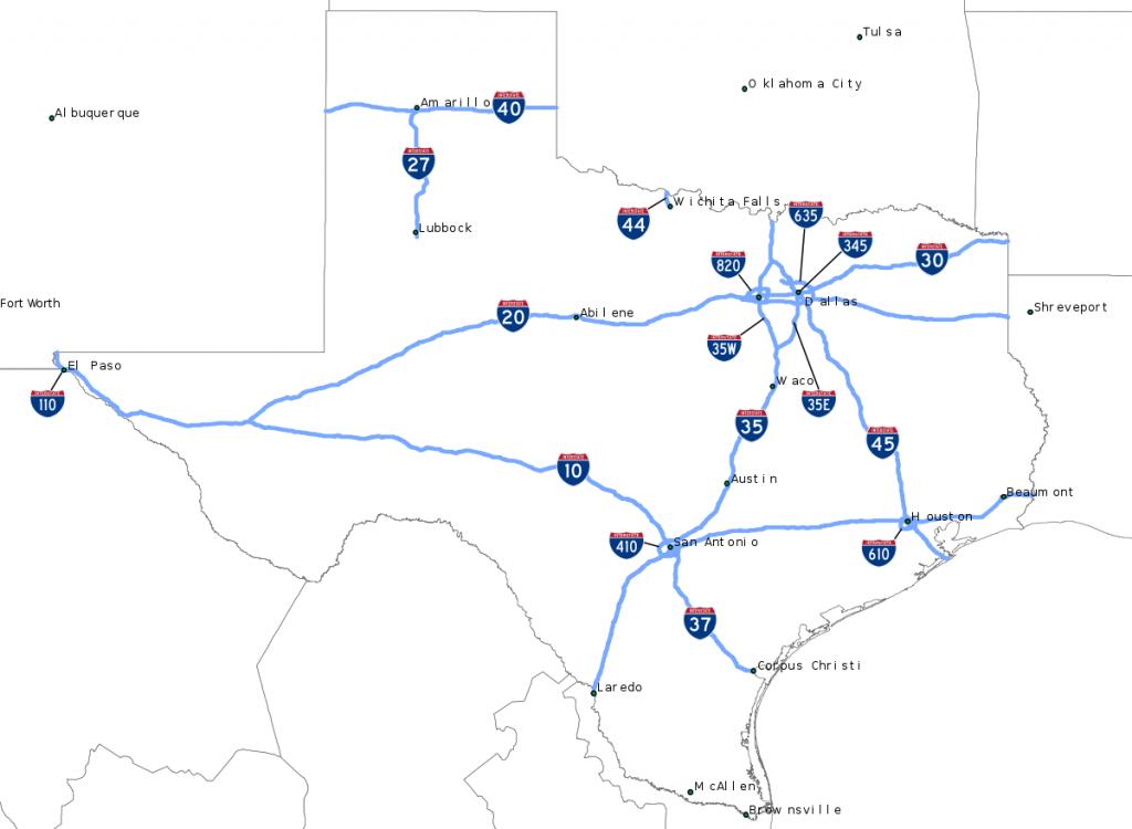 Liste Des Interstate Highways Du Texas — Wikipédia - Texas Interstate Map