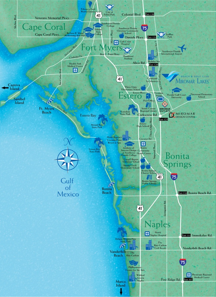 Locate Miromar Lakes, Florida - Just North Of Naples And Estero In - Map Of Sw Florida