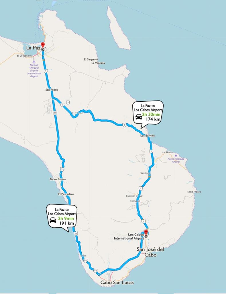 Location & Directions - Baja California Sur — Rancho Cacachilas - La Paz Baja California Map