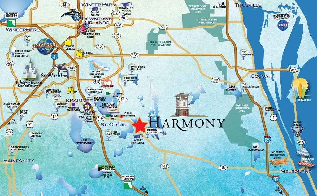 Location - Harmony, Fl - Central Florida Attractions Map