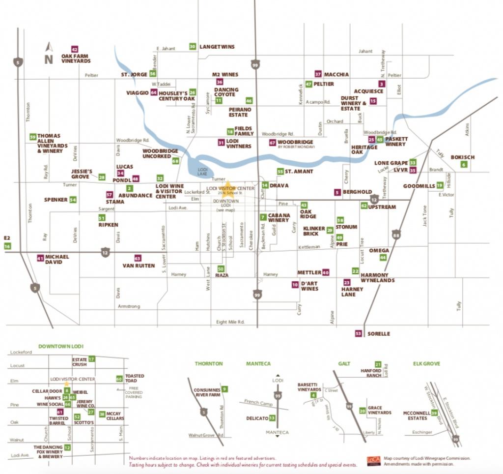 Lodi Winery Map & Wine Trail - Visit Lodi - Lodi California Map