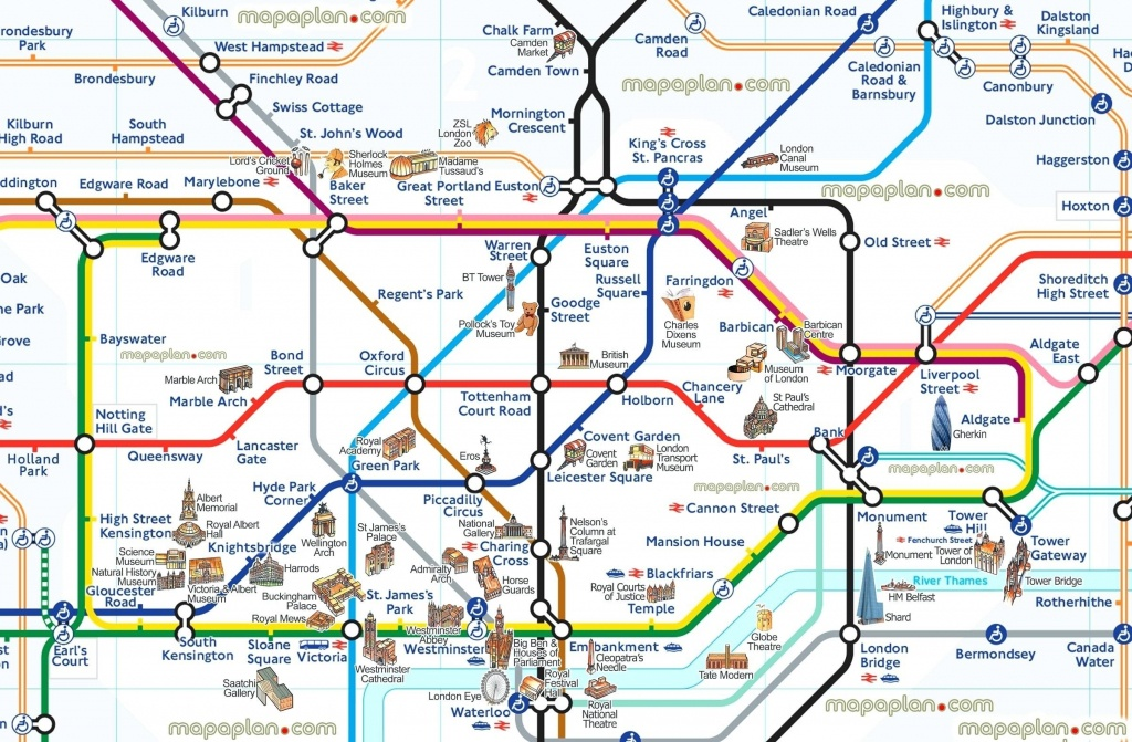 London Attraction Map With Tube – Uk Map - Printable Map Of London With Attractions