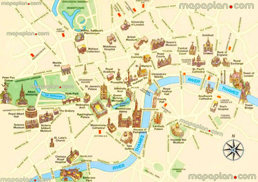 London Maps - Top Tourist Attractions - Free, Printable City Street - Central London Map Printable