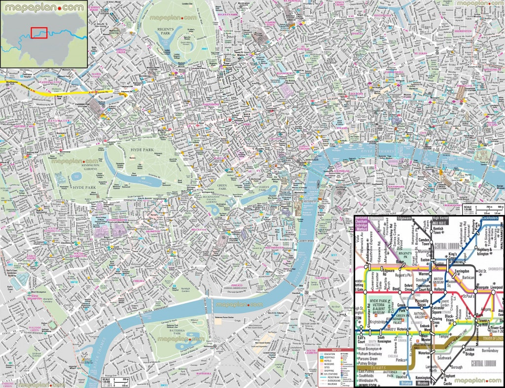 London Maps - Top Tourist Attractions - Free, Printable City Street - Printable Street Map Of Central London