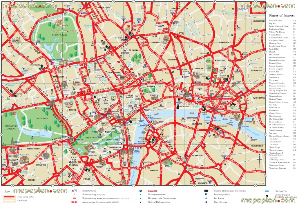 London Top Tourist Attractions Printable City Street Map - Printable Street Maps