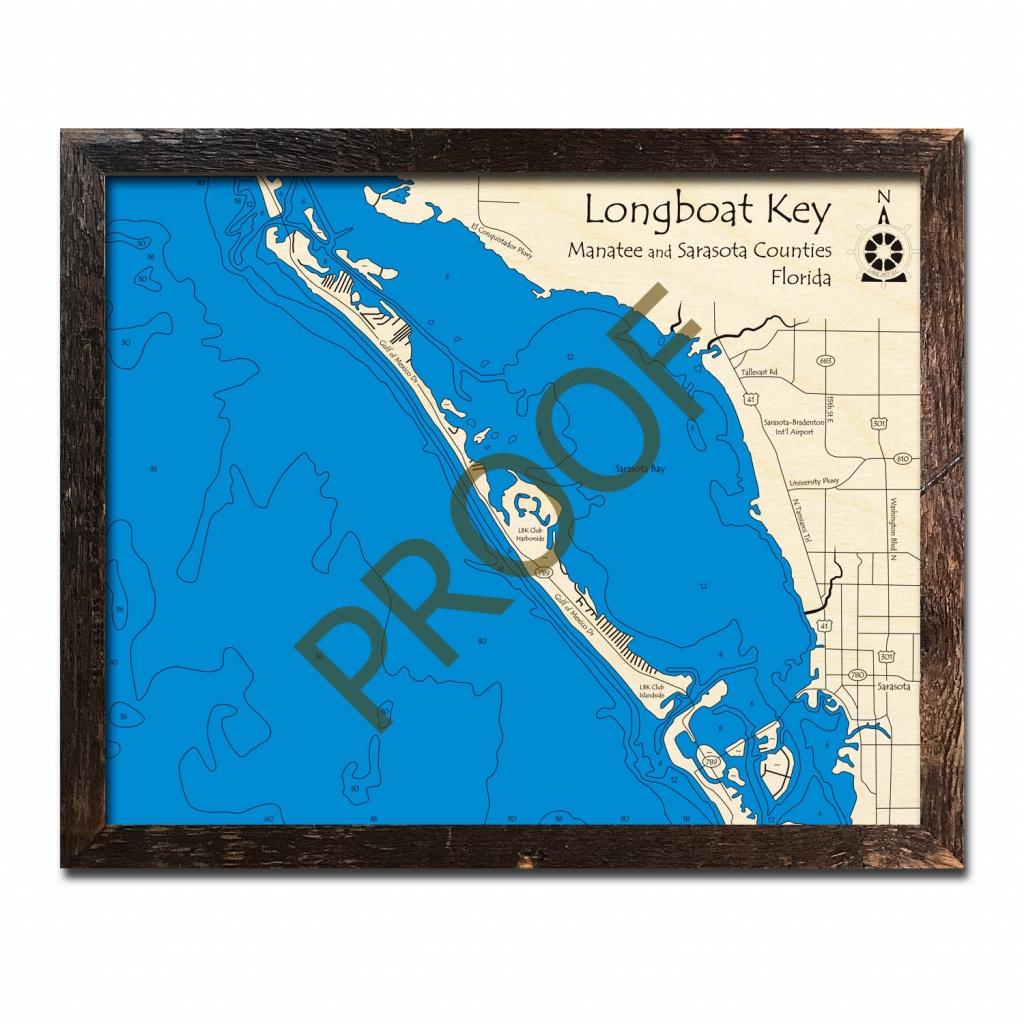 Longboat Key, Fl Nautical Wood Maps - Longboat Key Florida Map