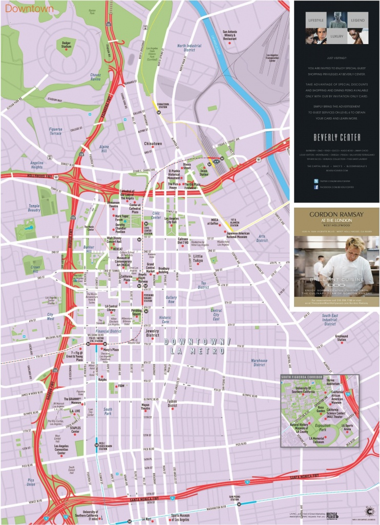Los Angeles Downtown Tourist Map - Los Angeles Tourist Map Printable