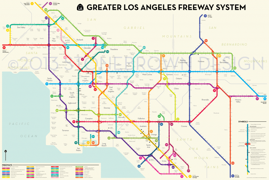Los Angeles Freeways - Printable Map Of Southern California Freeways