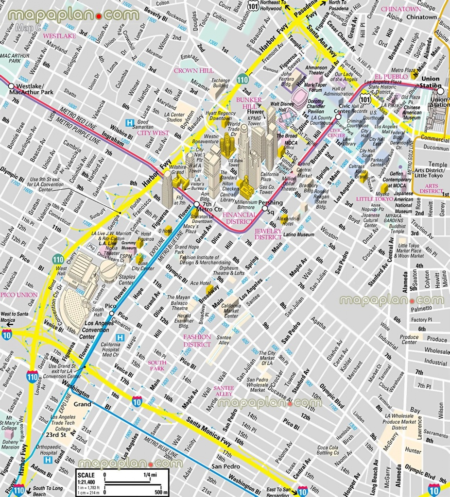 Los Angeles Map - Downtown Financial District - 3D Bird's Eye Aerial - Free Printable Aerial Maps
