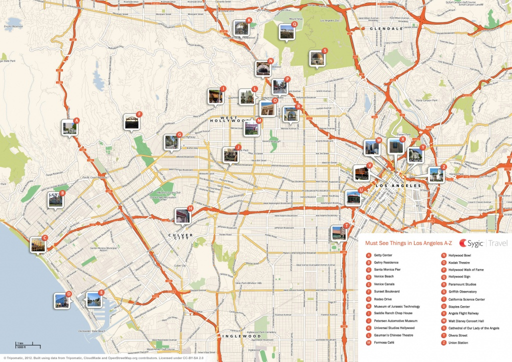 Los Angeles Printable Tourist Map   Sygic Travel - California Sightseeing Map