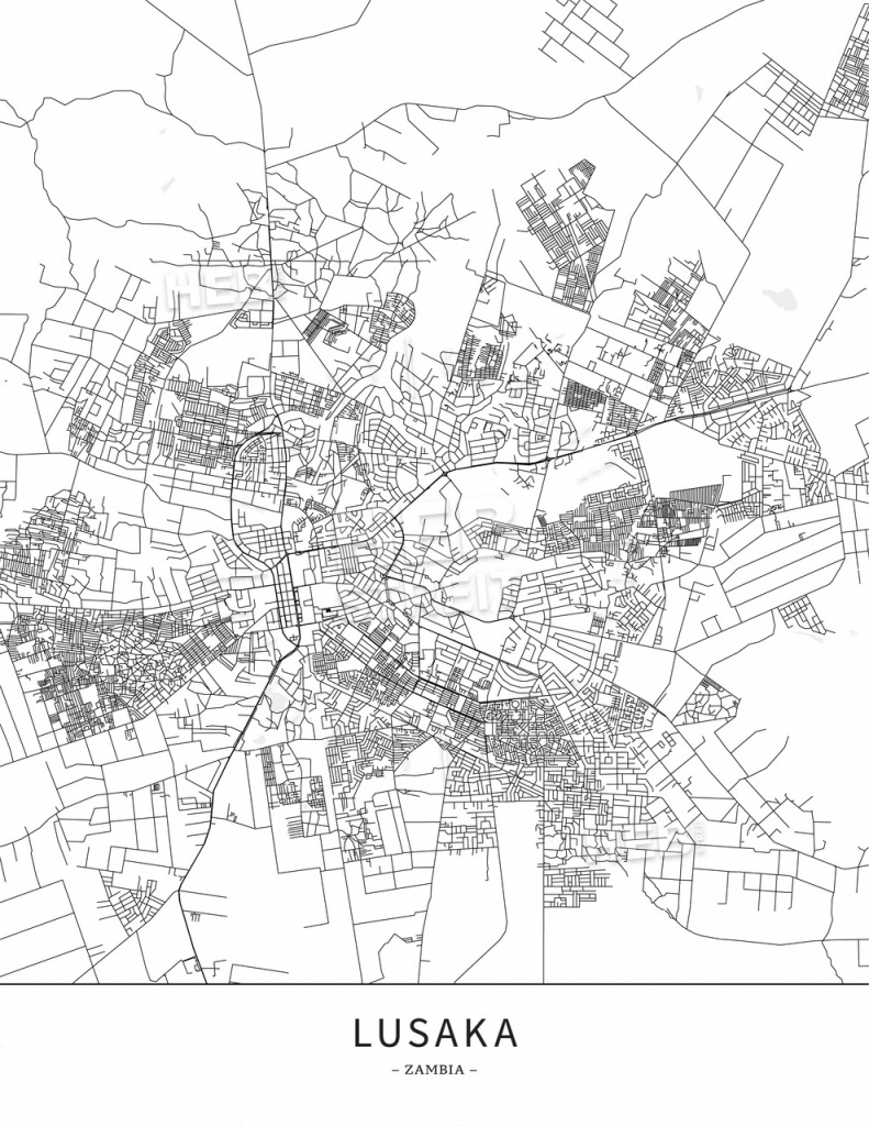 Lusaka, Zambia, Map Poster Borderless Print Template | Hebstreits - Printable Map Of Lusaka