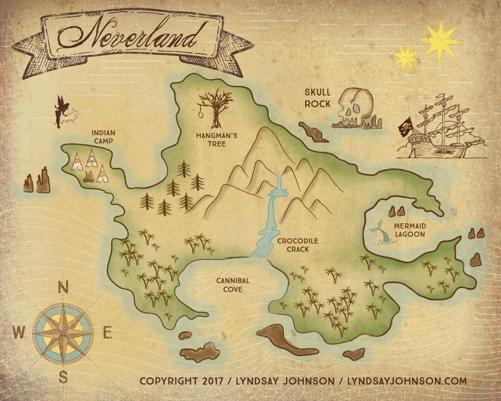 Lyndsay Johnson: Neverland Map Downloadable Print - Neverland Map Printable