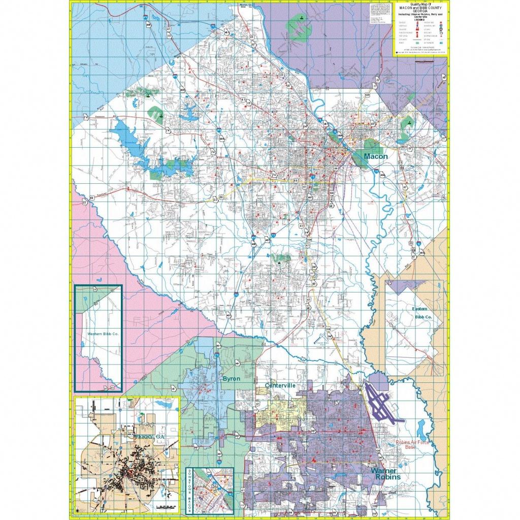 Macon And Bibb County, Ga Wall Map - The Map Shop - Printable Map Of Macon Ga