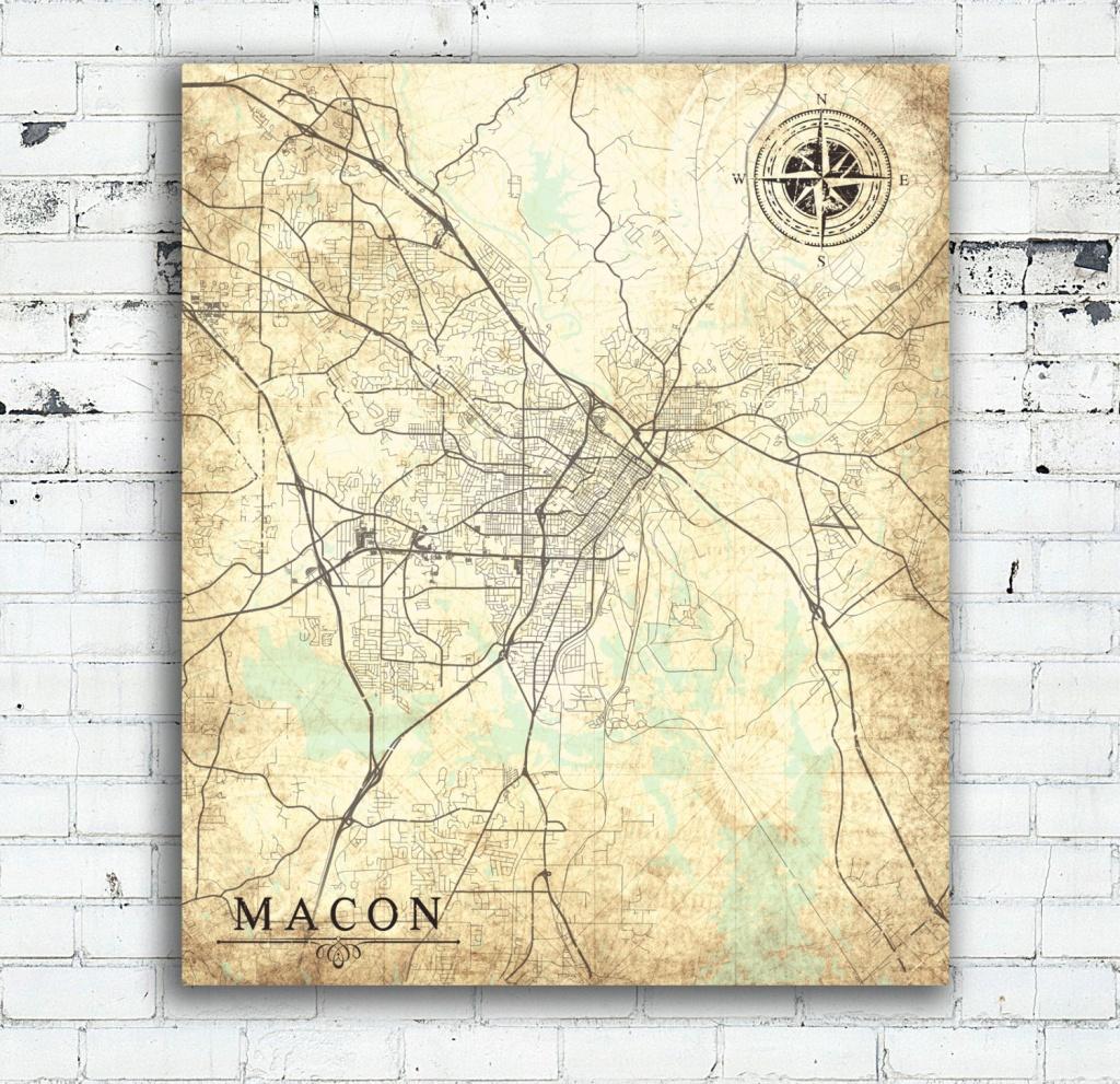 Macon Ga Canvas Print Georgia Ga Vintage Map Macon Ga City Map   Etsy - Printable Map Of Macon Ga