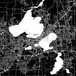 Madison, Wisconsin, Downtown Map, Dark   On Wisconsin   Map Vector   Printable Map Of Downtown Madison Wi