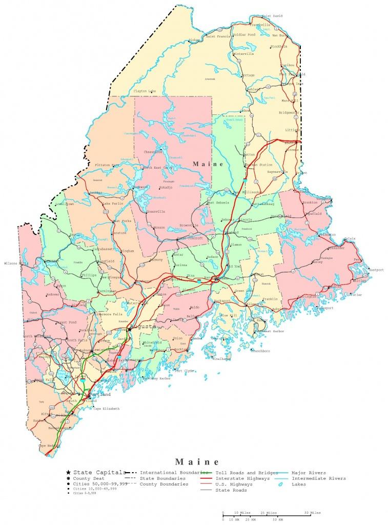 Maine Printable Map - Printable Map Of Maine