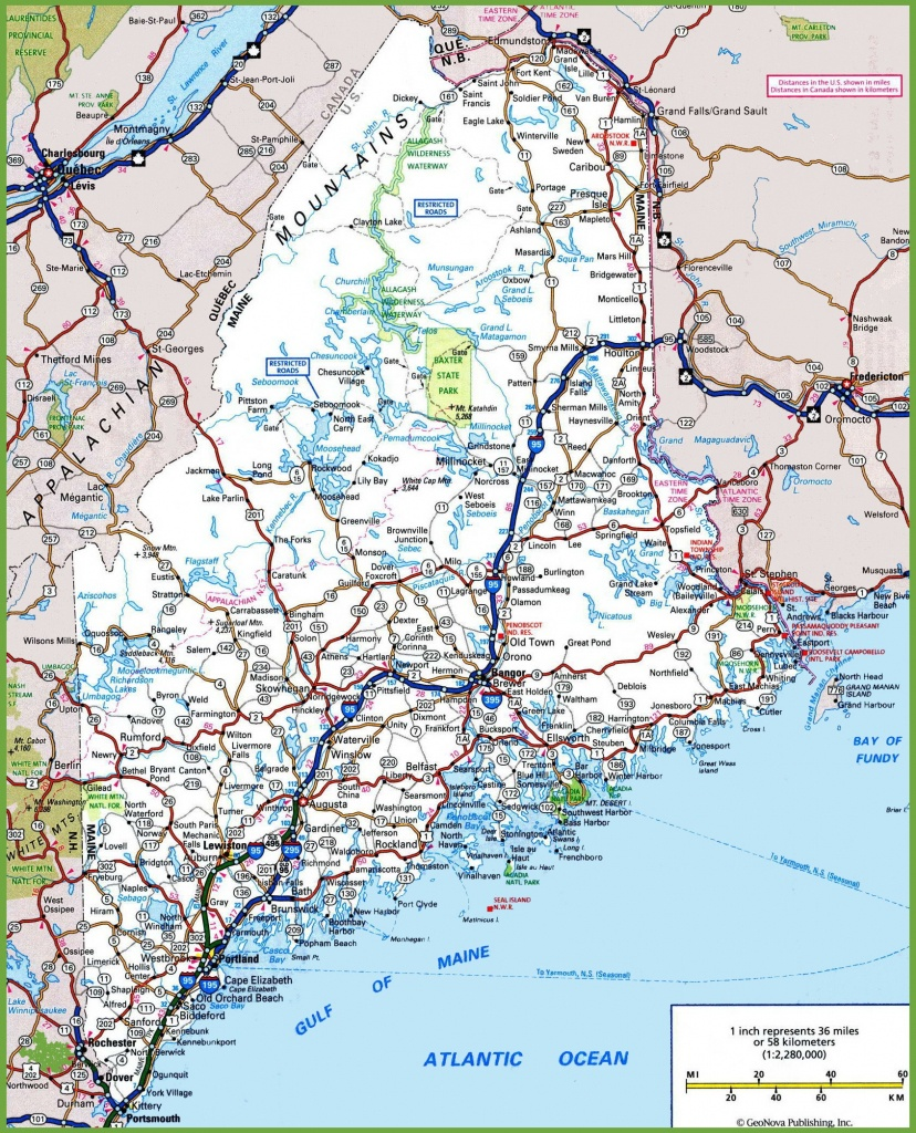 Maine Road Map - Maine State Map Printable
