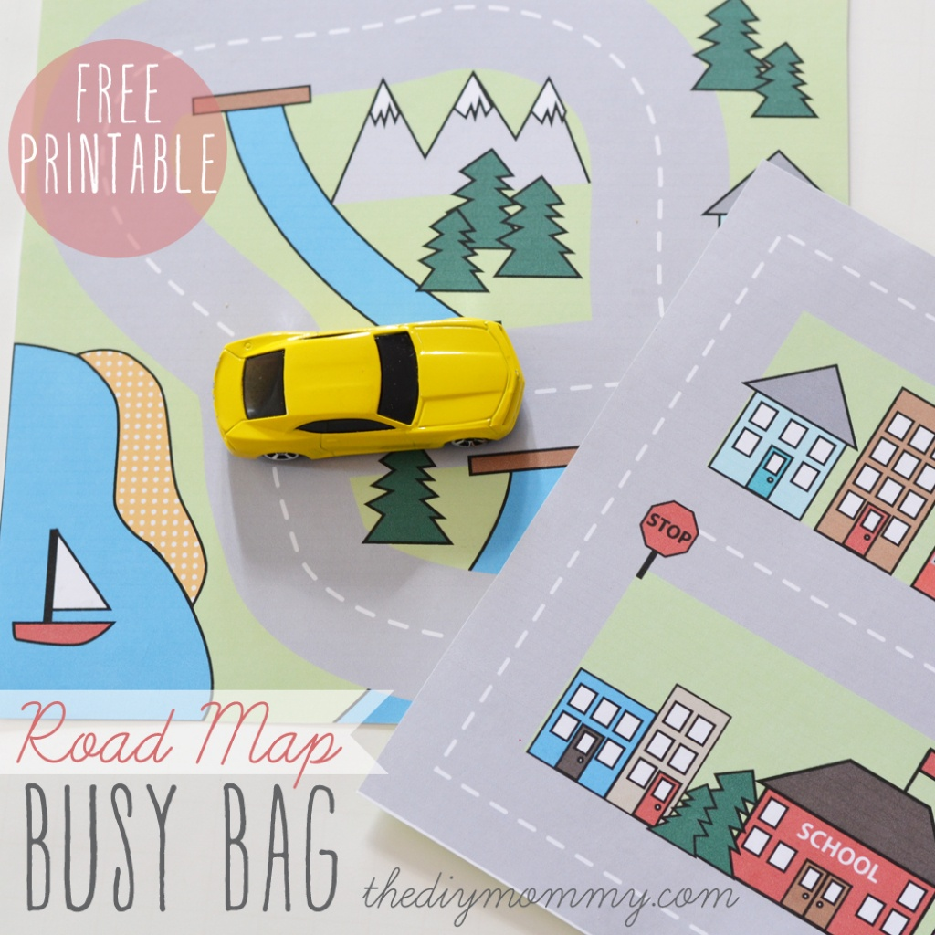 Make A Mini Road Map Busy Bag - Free Printable | The Diy Mommy - Free Printable Maps For Kids
