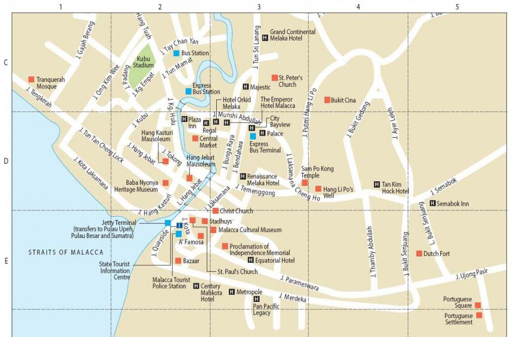 Malacca, City In Malaysia   Wonderful Malaysia - Melaka Tourist Map Printable